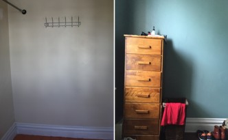 Bedroom closet before and after